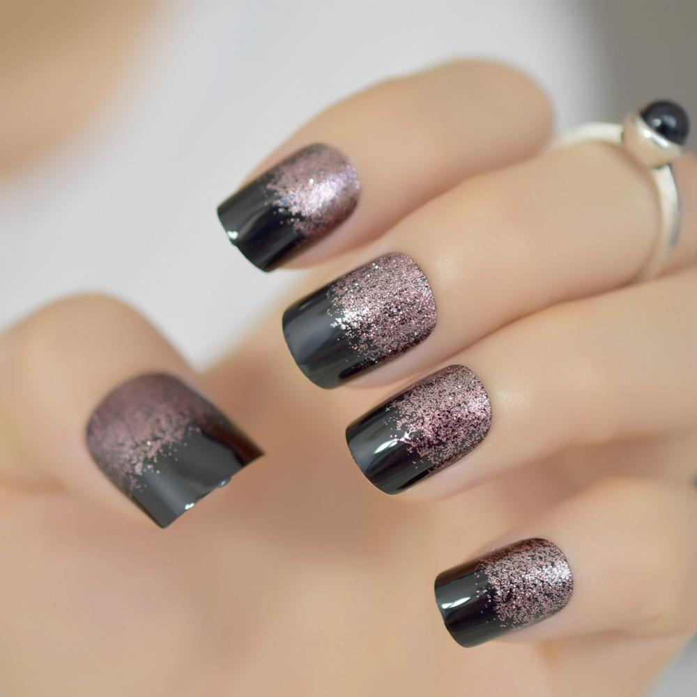 Noir Lumière douce Café Brown Glitter français faux ongles tête carrée Shimmer Faux ongles Conseils Bride Bureau Usage quotidien d'été