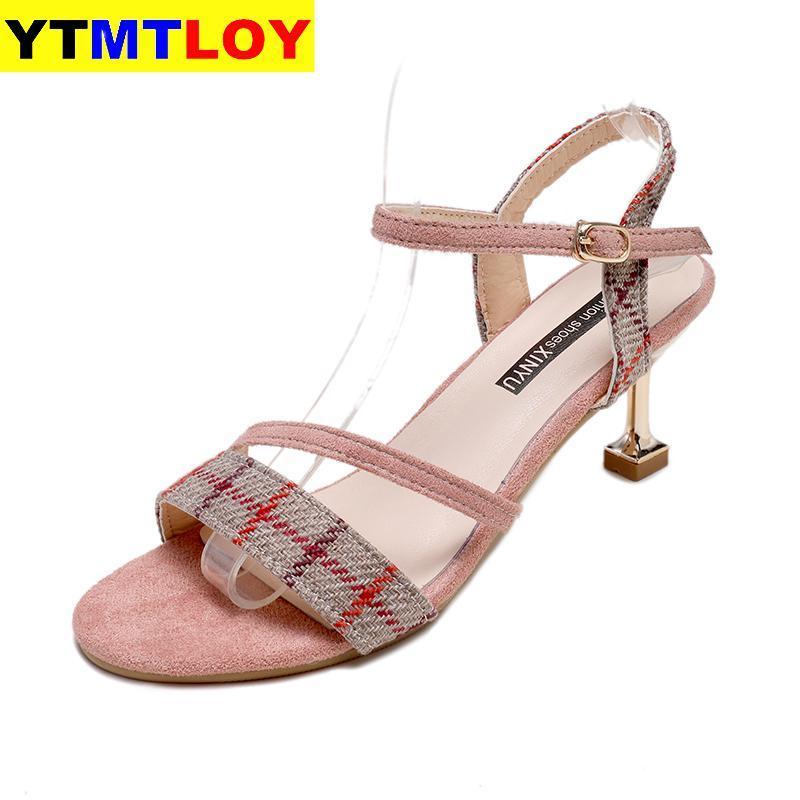 CALDO Moda Fibbia donne scarpe estive gladiatore sandali delle donne del partito tacco alto scarpe da sposa Mujer plaid Tacchi casual punta aperta