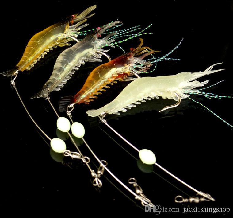 Cebo Luminoso es Adecuado para la Pesca con Mosca Perca Simulaci/ón de Peces de mar Cebo Suave WJUAN 5 Piezas Cebo Camar/ón Artificial 9 cm// 5,7 g Camarones Falsos con Anzuelo 5 Colores