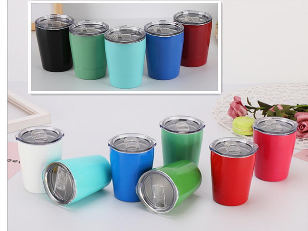 Le vin 9colors lunettes en acier inoxydable Tumbler 8.5oz tasses véhicule Voyage Tasse de bière de tasses non-vide avec des couvercles de pailles