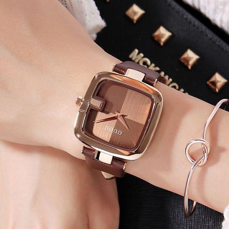 GUOU Women's Watches 2020 Fashion Ladies Watches For Women Bracelet Watch Women Luxury Montre Femme Square Clock Saat MX200320