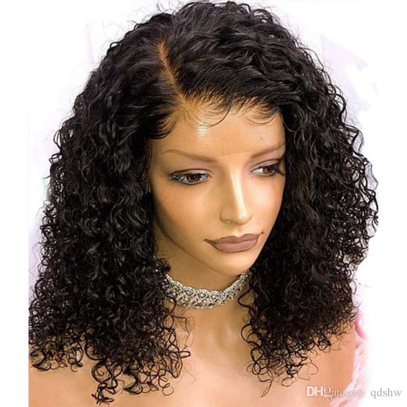 İnsan Saç Kıvırcık Dantel Ön Peruk Yan Bölüm Öncesi Mızraplı Tutkalsız Gerçek 100 Bakire Brezilyalı Kıvırcık Tam Dantel Peruk İçin Siyah Kadınlar