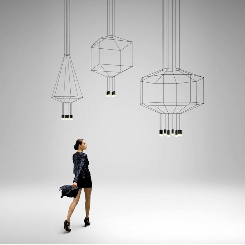 북유럽 현대 110 볼트 220 볼트 240 볼트 LED 블랙 wireflow 펜던트 조명 램프 계단 홀 로비 3 메터 케이블 흐름 블랙 매달려 램프