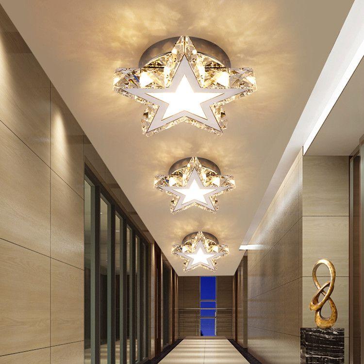 Modern LED Paslanmaz Çelik Kristal Yıldız Tavan Işıkları Koridor Koridor Lambası Akrilik Merdiven Balkon Downlight Tavan Lambası Spotlight