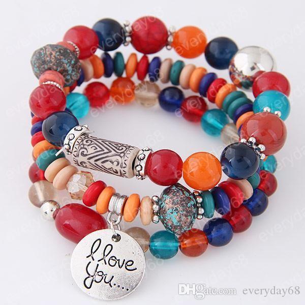 2020 Bohemia Bracelets for Women Jelly Stone Beads Bracelets & Bangles Love Charm Pulseras Ethnic Style Elastic Bracelet Femme