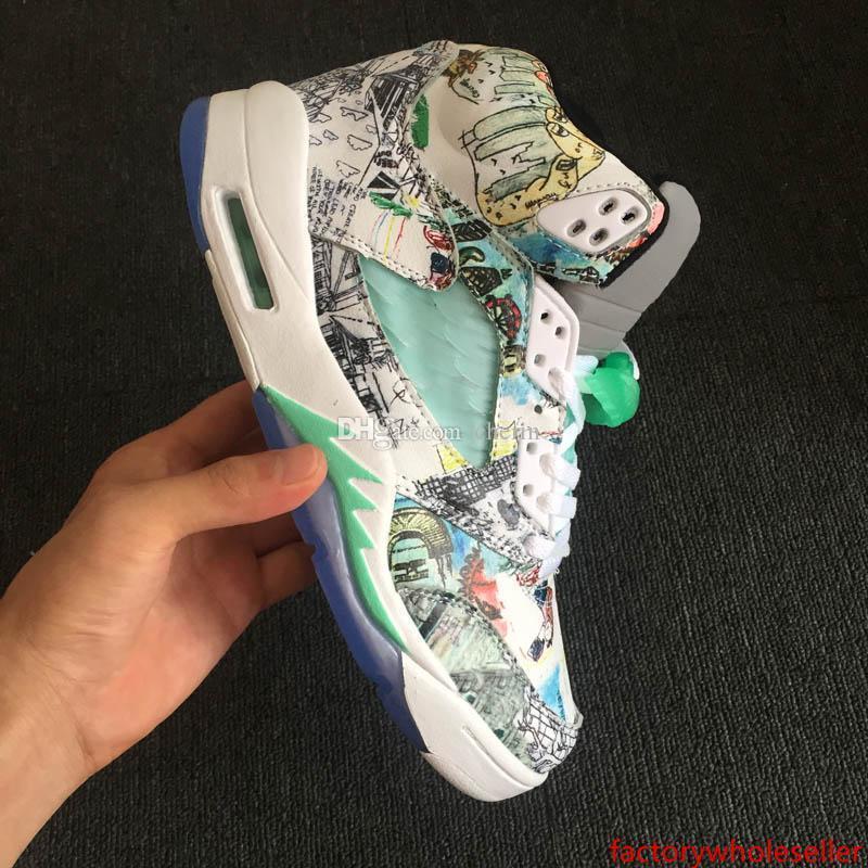 boxWings con zapatos de Jumpman V 5 nuevo blanco de hielo verde azul de la pintada de baloncesto para la mejor calidad para hombre de las zapatillas de deporte Deportes Formadores 5s Tamaño 7-13