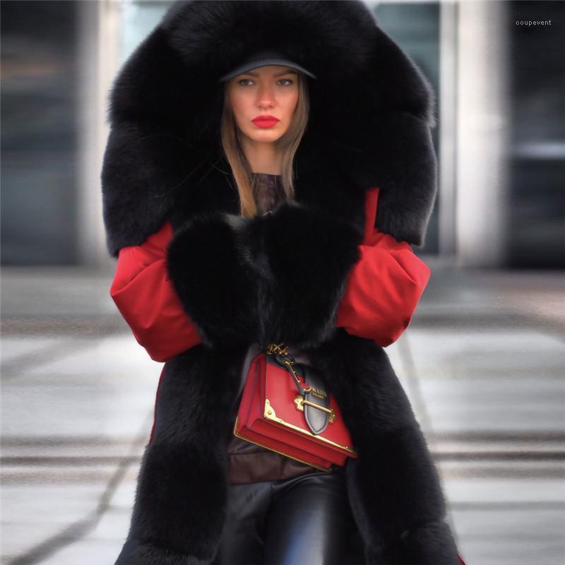 Femmes hiver Parkas épais de fourrure Designer chaud vers le bas Manteaux coupe-vent