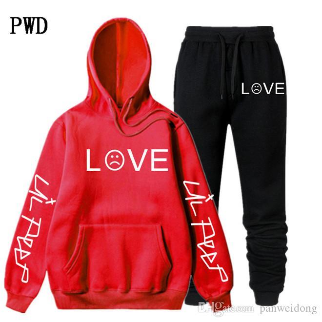 Lil Peep Felpa con cappuccio Imposta donne degli uomini inverno / caldo pile Felpe con cappuccio + pantaloni della tuta dei vestiti di Hip Hop Pullover con cappuccio EL-4