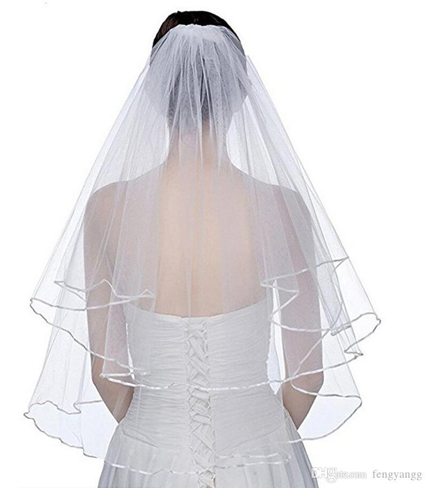 2019 جديد أنيق الزفاف الحجاب قصيرة 2 الطبقة الزفاف الحجاب مع مشط 2 طبقة الأبيض العاج الزفاف الحجاب الحرير حافة تول نوعية جيدة