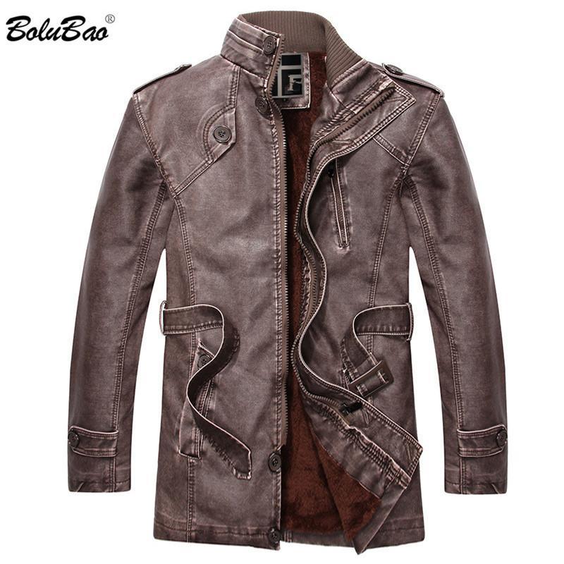 Leather Jacket Men BOLUBAO Masculino Motorcycle Rua Windproof Casual gola Brasão de negócio que está Collar Jacket Inverno