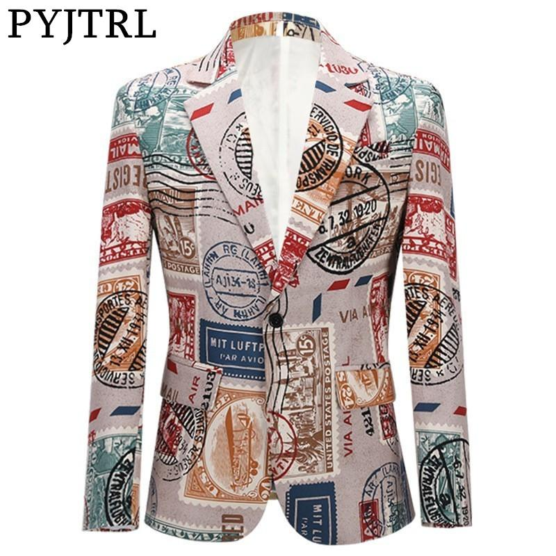 PYJTRL Männer Retro-Vintage-Plus Size Print Jackett beiläufige Mantel Slim Fit Blazer Männer Veste Homme Mariage Prom Sänger Kostüm