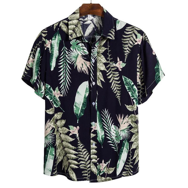 2020 Uomini hawaiane Camice casuali Uomini Selvaggi Tropical Button supera nuovo modo di arrivo Camicie Casual manica corta slim fit