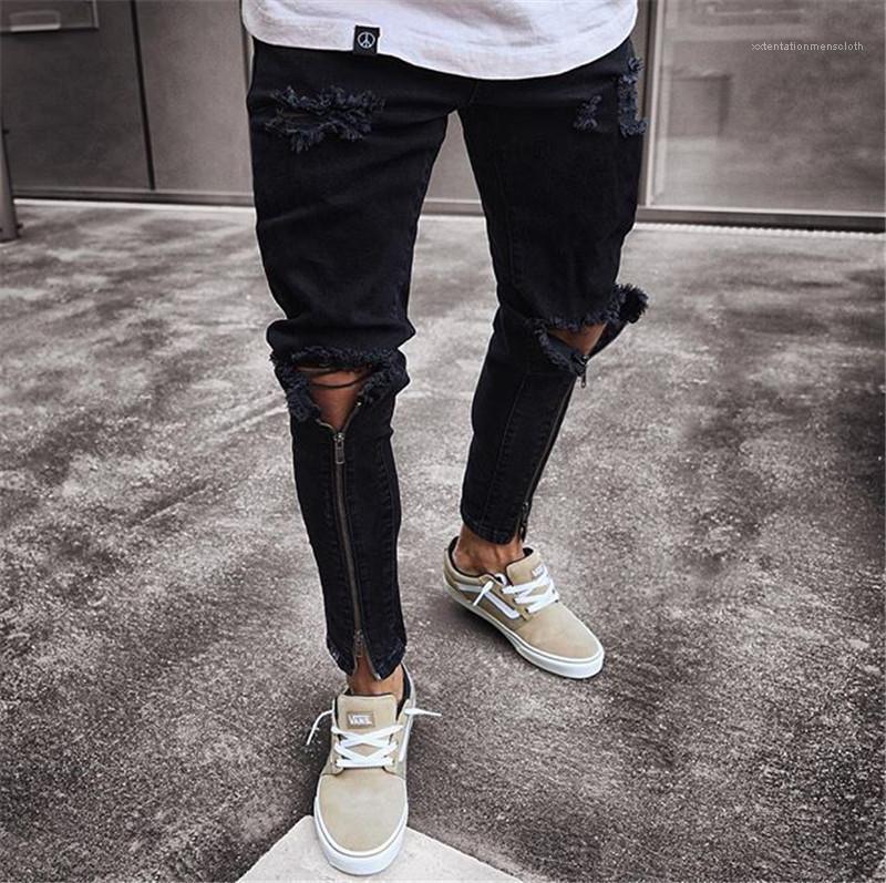 Jeans Mode dünne Zipper Panelled Herren Bleistift-Hosen-beiläufige Reißverschluss Männer Kleidung Loch Herren Designer