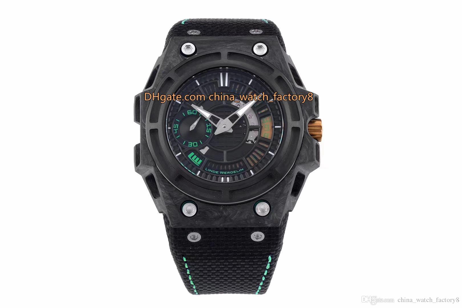 2 Renk İyi Kalite El saatler Üst Fabrika 44mm x 15mm Linde Werdelin W0591N2800 Karbon Elyaf İsviçre Mekanik Otomatik İzle Erkek Saatler