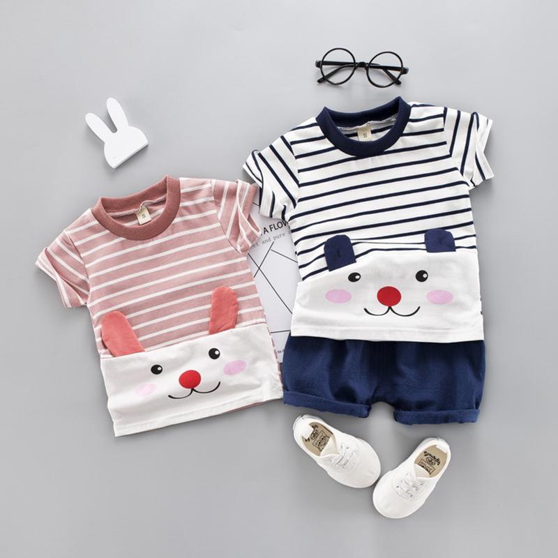 Été Vêtements de bébé fille 2 couleurs Mignon Cartoon Ours Vêtements enfants costume à rayures T-shirt + Shorts 2Pcs Vêtements garçons Outfit Ensembles 1-4Y