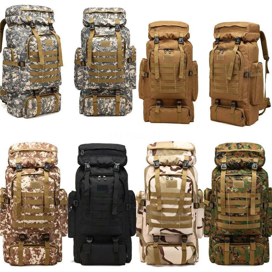 Tactique escalade Oxford Camouflage Sac à dos Cadet Randonnée Voyage hors route Rucksack Knapsack Sport Outdoor gros emballages 80L Besace # 95