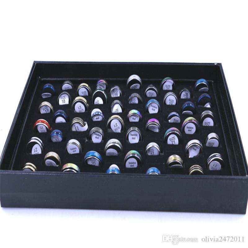 NOUVEAU Mode Hommes Anneaux Bijoux Bagues en acier inoxydable Titanium chaud 50pcs / boîte taille 18-21 Mélange CY2