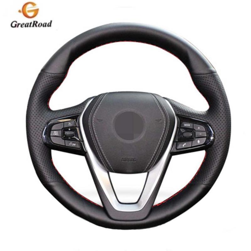 Cuir noir cousu main Housse de volant pour G30 530i 540i 520d 530e 2016-2018 G32 GT 630i 630d 2017-2018