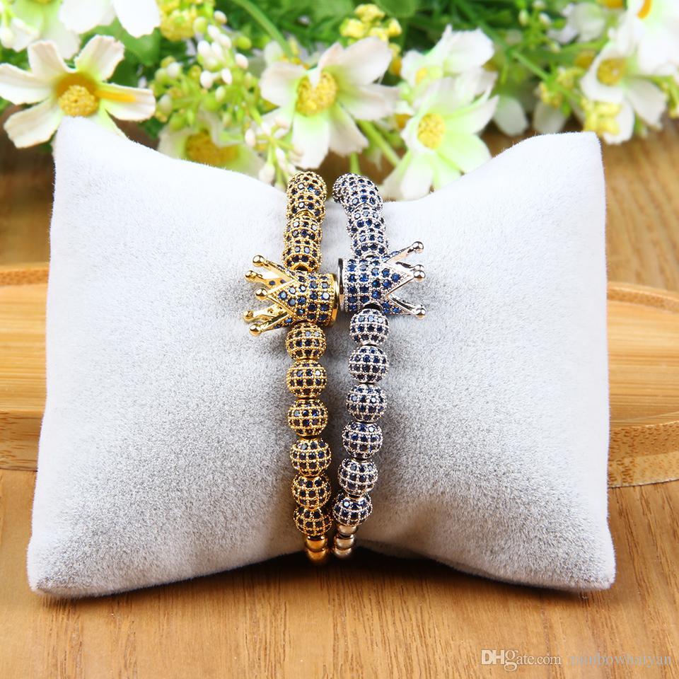 New Bracelet Men And Women Crown Macrame Bracelets Wholesale 6mm Blue Cz Ball Beads 4mm Stainless Steel Jewelry