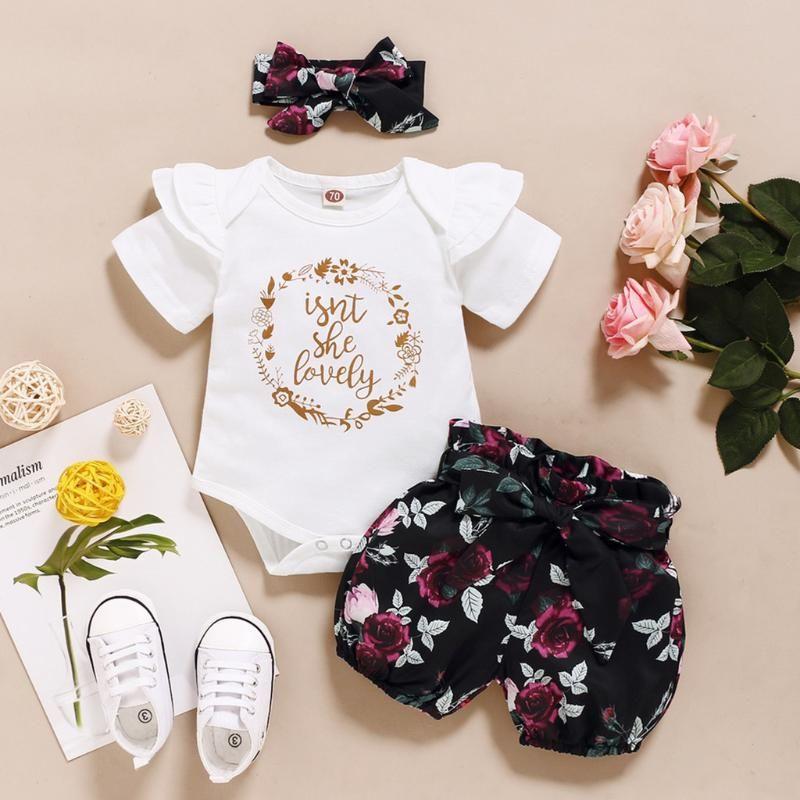 Наборы одежды Родины Baby Girls ruffles Одежда набор Причинная буква Печать Боди Бумпер + точечные шорты наряды 3 шт. Лето