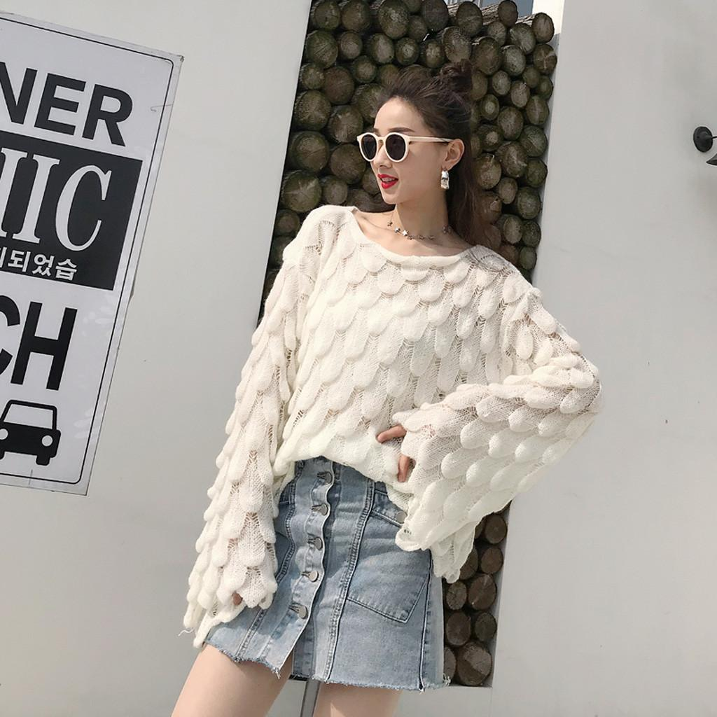 Sweater Women Fashion Ladys Spring Knitted Sweater Bell Sleeve Loose Outside Jumper Lazy Style Pull Femme Nouveaute 2019
