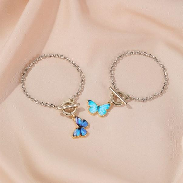 Kadınlar Vintage Titanyum Çelik Düğün Kolye gerdanlık Takı Aksesuar 2020 Yeni Mor Mavi Kelebek Kolye Kolye