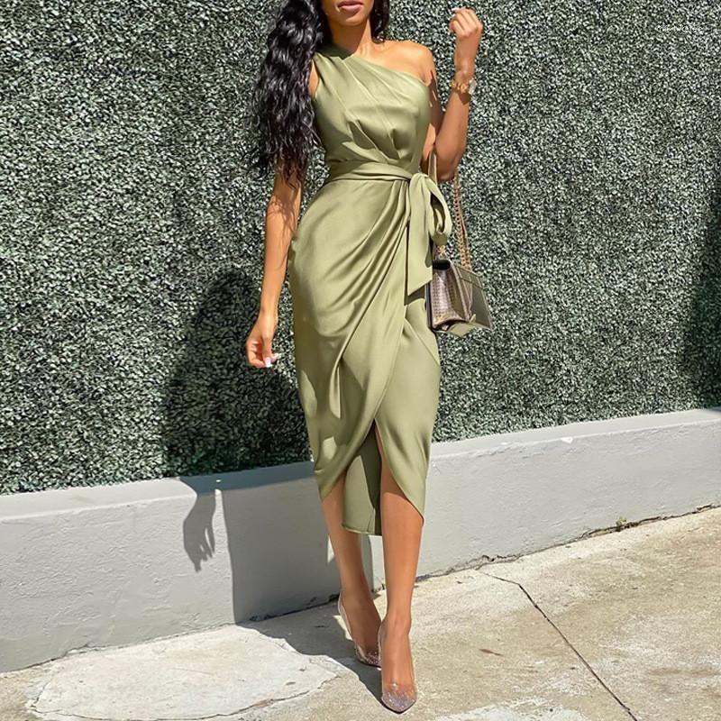 Günlük Elbiseler Moda Zarif Bind Split Bayan Tasarımcı Düzensiz Elbiseler Rahat Kadın Giyim Katı Renk Bayan
