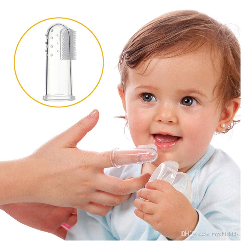 1PC Baby Finger Toothbrush Infant Brushing Teeth Training Soft Healthy Silicone