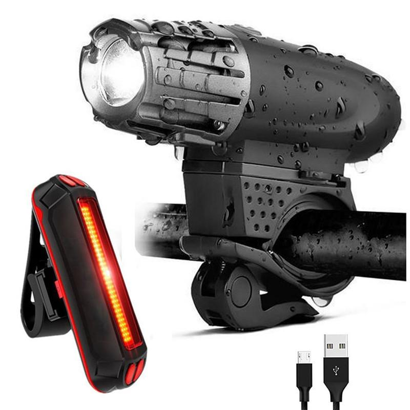 LED 방수 자전거 라이트 키트 USB 충전식 전면 자전거 라이트 테일 라이트 300LM 산악 자전거주기 Taillinght 세트
