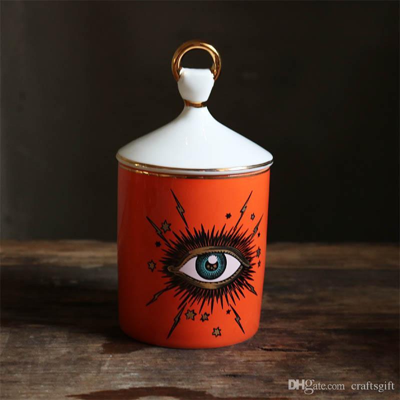 Titular de cerámica creativa del ojo grande de velas cielo estrellado de la vela con la mano la tapa tarro de bricolaje Candleabras para el hogar decoración de la tabla