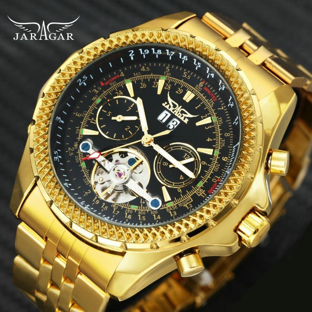 2019 Jaragar Top Marca De Luxo De Ouro Automático Homens Relógios Tourbillon 4 Mostradores Aviador Mecânica Relógios De Pulso De Aço Inoxidável Y19052201