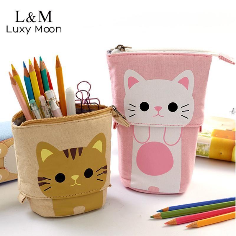 Bolsa escalable lápiz lindo kawaii para gato pluma papelería zapatería cremallera escuela estudiantes pluma animales bolsas xa7h para caja de caja arllw