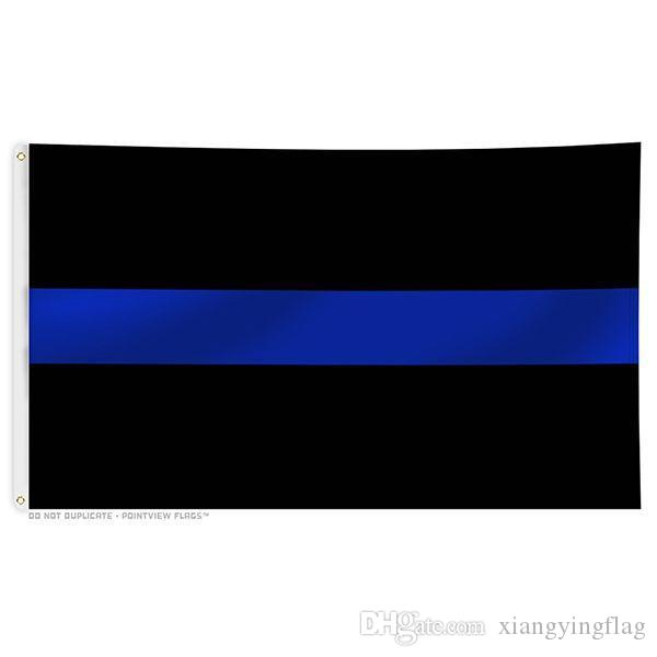 freies Verschiffen Großhandel direkten factroy Preis 3x5Fts 90x150cm Honoring Law Enforcement Officers dünne blaue Linie Flagge