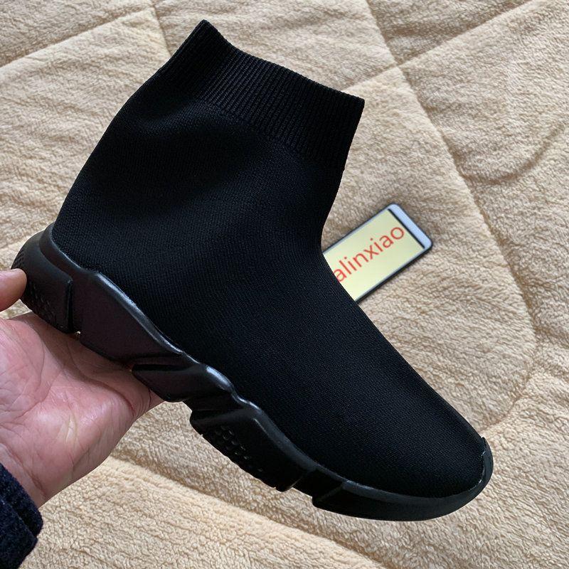 Nuove donne degli uomini calzino nero scarpe di alta qualità Speed Trainer scarpa da tennis delle donne degli uomini dei pattini casuali di modo superiore Runners slip on Boots