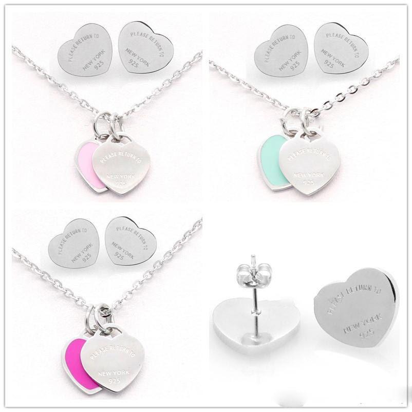 Conjunto de joyas pendientes de plata de color titanio de acero inoxidable de la letra T del doble del collar del corazón para las mujeres de la señora Fashion boda Marca Amor