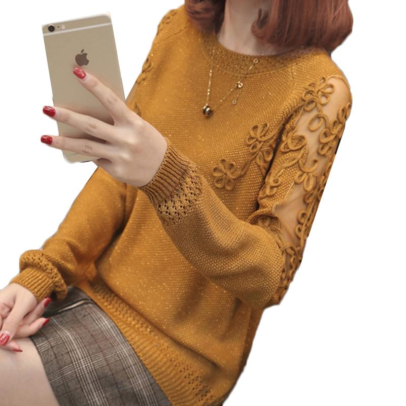 New Spring Autumn Women Sweater Pullover Fashion Long Sleeve Plus Size Loose Hollow Out Flower Knitted Shirts Tops Female 497