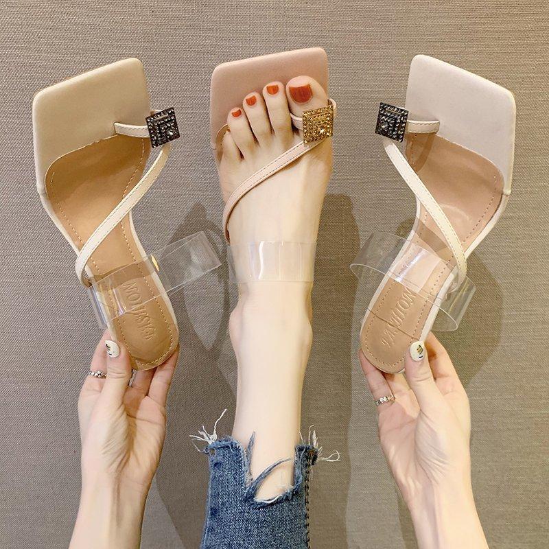 Damenschuhe Hausschuhe Outdoor 2020 neue Sommermode Satz Zehe Rhinestone transparente Stilettos