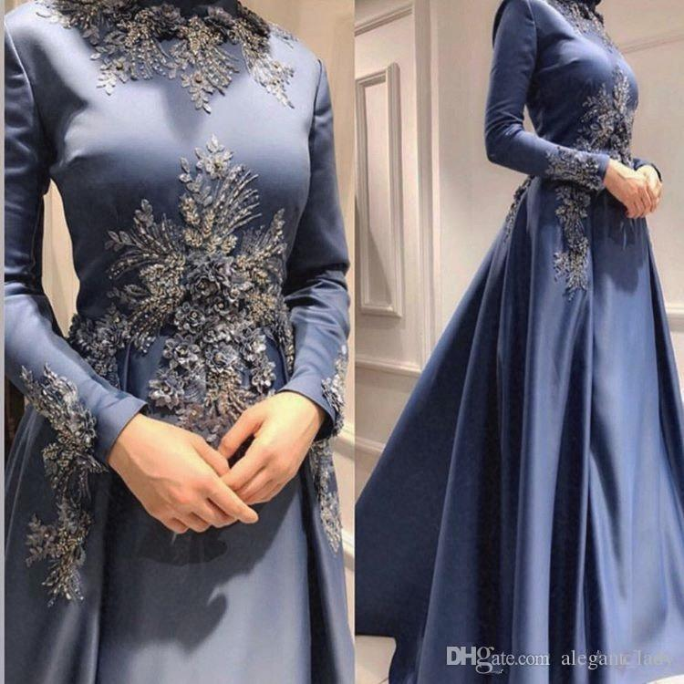 Caftan Arabic Muslim 3D Floral Appliques Evening Dresses Beaded Long Sleeves Prom Dresses A-line Satin Formal Party Bridesmaid Pageant Gowns