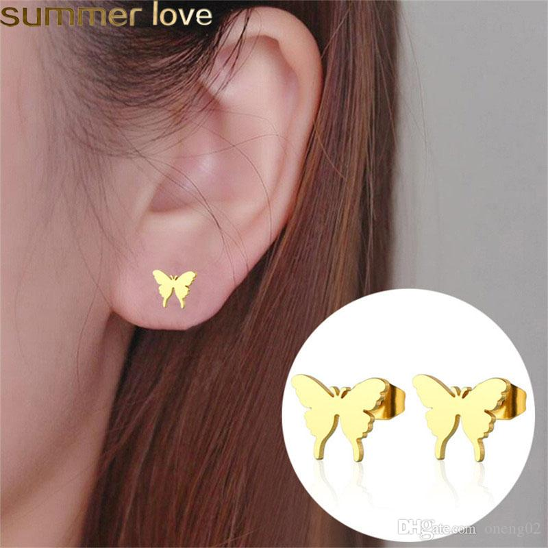 Gold Coated Butterfly Shaped Fashion Jewelry Hypoallergenic Girl/'s Dangle Earrings