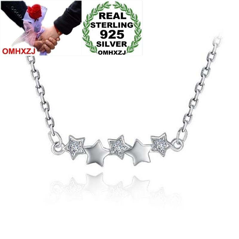 OMHXZJ Wholesale Fashion Sweet OL Woman Girl Party Gift 18 Inch 45 CM Pentagram 925 Sterling Silver O Word Chains Necklaces NK24