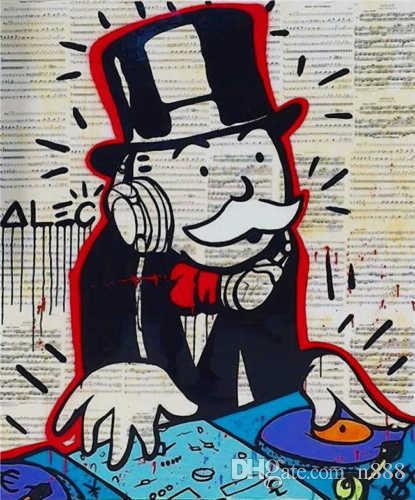 Alec Monopoly Oil Painting On Canvas Graffiti Art Wall Decor Music Money The DJ Handpainted & HD Print Wall Art Canvas Pictures 191030