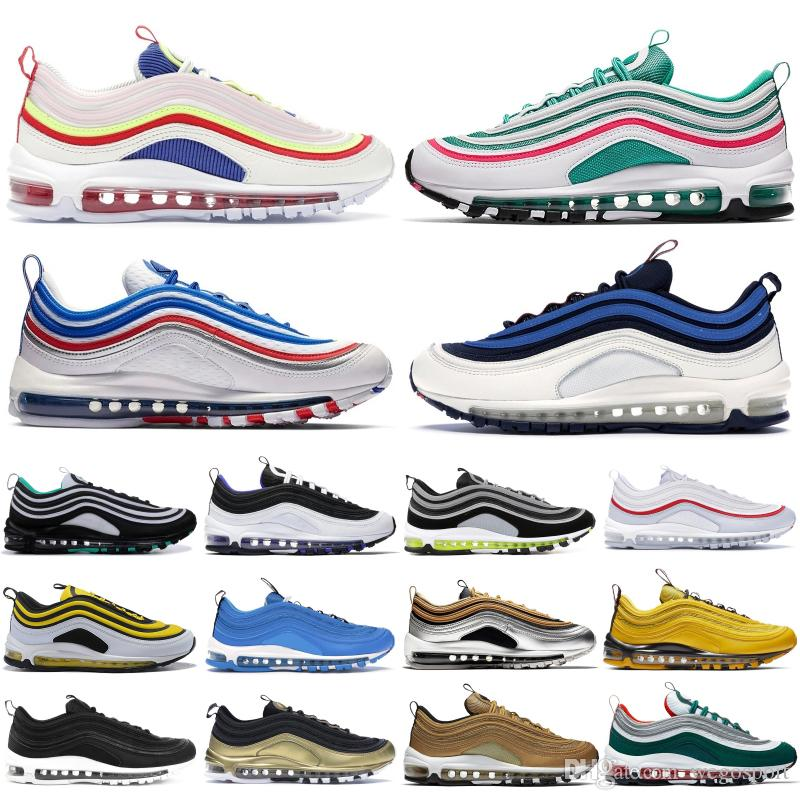 Principais Mens nike air max 97 OG Running Shoes Neon Seoul South Beach Throwback Futuro Iridescent Triplo Branco Preto Silver Bullet Mulheres Sports Sneakers