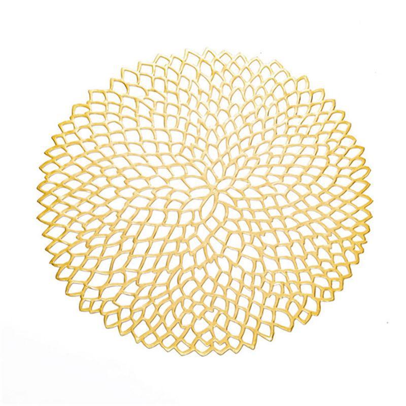 Placemat para cenar Coaster Tabla de PVC hueco plástico de aislamiento Ronda barroca mediterránea Pads Tabla cuenco Mats Decoración de oro