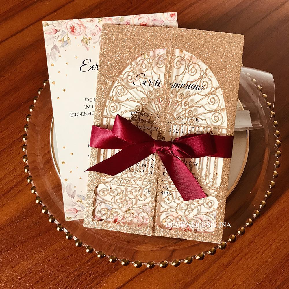 2020 Rose Gold Glitter Castle Castillo Corte Invitaciones de la boda con la cinta de Borgoña y el sobre de la ducha nupcial de los envoltores invita a la tarjeta de 15 dulces personalizados