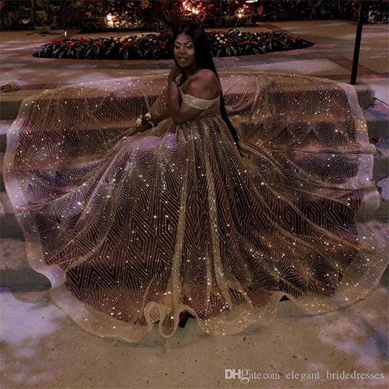 Plus Size or sirène Robes de bal nouveaux l'épaule étage longueur robe de soirée sans manches Party Robes