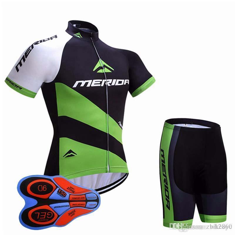 2020 메리다 팀 사이클링 반팔 저지 (턱받이) 반바지 통기성 스포츠 의류 자전거 의류 라이크라 여름 MTB F1302 번호를 설정