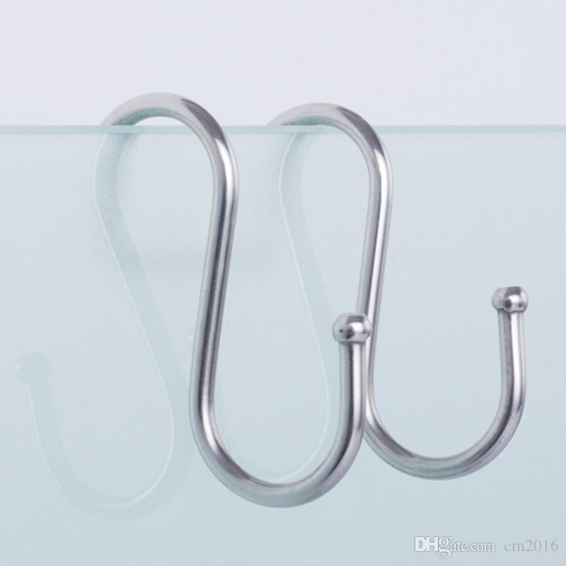 Stainless Steel Round S Shaped Dual Hanger Hook Kitchen Cabinet Clothes Storage