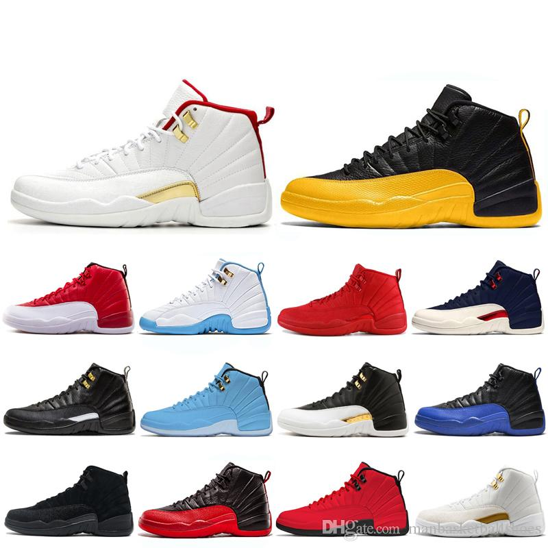 New 12 Man Basketball Shoes 12S FIBA gym red French Blue University Gold Gamma Blue 12S men sport discount sneaker shoe