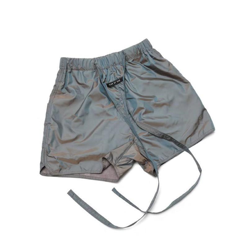 Casual Calle Mejor Hip Hop colorido de plata con cordón de nylon Calle Pantalones cortos FOG monopatín de moda al aire libre corto flojo shorts de playa HFLSDK057