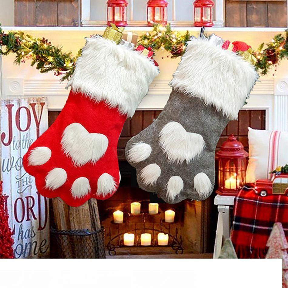 Weihnachtsfeier Hund Katze Pfote Strumpf Hängende Socken Baum Ornament Dekor Strumpfwaren Plüsch Weihnachten Socken kdis Geschenk Candy Bag LJJA2919